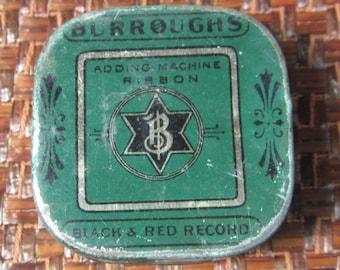 Vintage 1940's Burroughs Adding Machine Ribbon Tin With Six Sided Star Logo