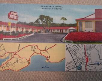Vintage Postcard of El Castell Motel Monterey, California Teknitone Color