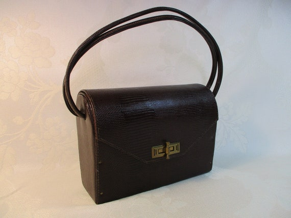 Vintage 1940's Dark Brown Faux Snakeskin Handbag w