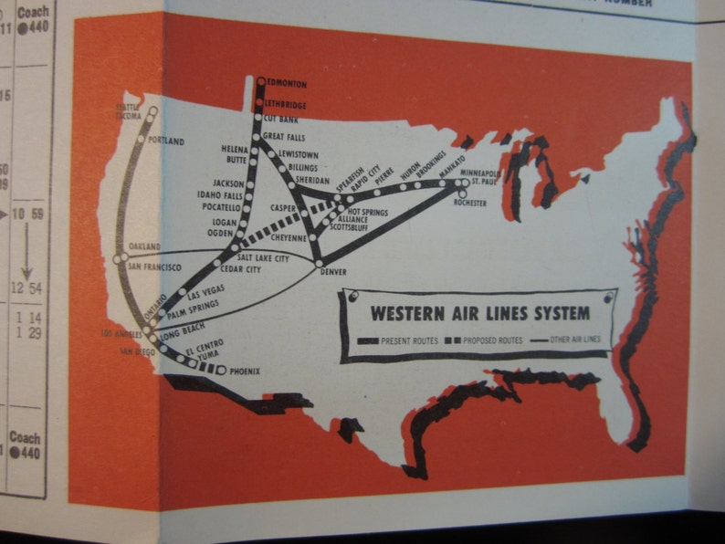 Vintage 1952 Western Air Lines Brochure Route Chart Fold Out TriColor
