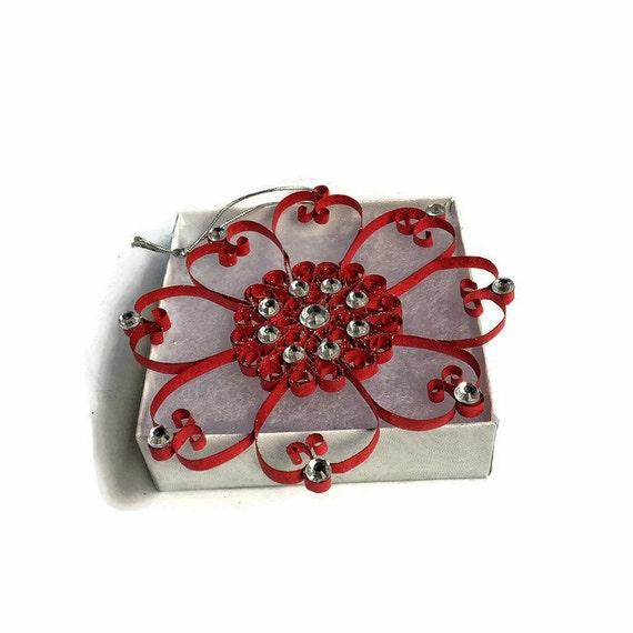 roten quilled ornament baumschmuck weihnachten quilled etsy. Black Bedroom Furniture Sets. Home Design Ideas