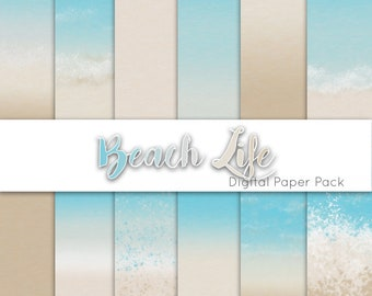 Digital Printable Scrapbook Craft Paper SALE 50/% OFF Summer Vacation Beach Seaside Pink Teal Blue Green Summer By The Sea A4