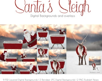 Santa's Sleigh Digital Backgrounds and Overlays
