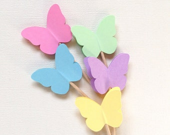 24 Pastel Butterfly Cupcake Toppers, Party Decor, Princess Party, Spring, Easter, Summer, Weddings, Showers, Birthdays