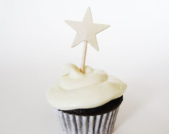 Ivory Shimmer Star Mini Cupcake Toppers, Graduation Party Decor, Double-Sided, Weddings, Showers, Birthdays, Set of 15