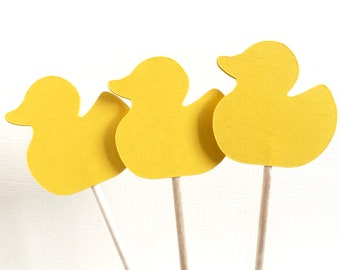 24 Yellow Duck Cupcake Toppers, Baby Duck Food Picks, Spring, Summer, Party Decor,  Baby Shower, Birthdays, Easter, Double-Sided