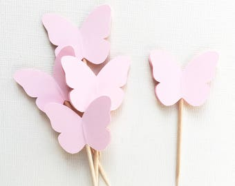24 Light Pink Butterfly Cupcake Toppers, Party Decor, Spring, Easter, Summer, Weddings, Showers, Birthdays