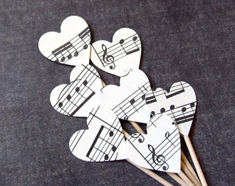 Vintage Sheet Music Heart Cupcake Toppers, Party Decor, Weddings, Showers, Birthdays, Set of 18