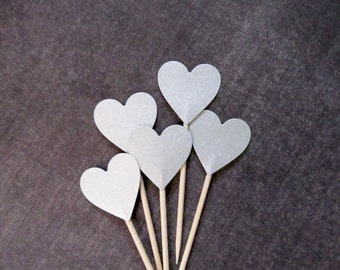 Silver Shimmer Heart Cupcake Toppers, Food Picks, Party Decor, Double-Sided, Weddings, Showers, Birthdays, Valentine's Day Decor, Set of 15