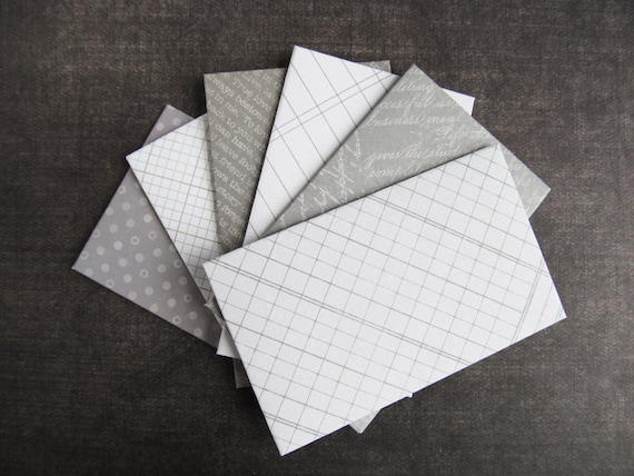 Gray mini envelopes gift card business card envelopes favor etsy reheart Images