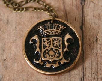 Family Crest Pendant Coat of Arms Necklace Shield and Crown - made from a vintage button