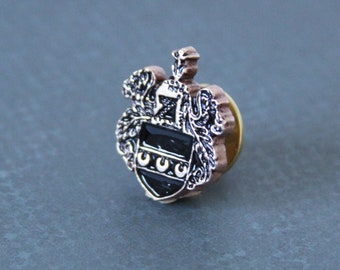 Shield Crest Tie Tack Coat of Arms Crown Royalty Regal Lapel Pin made with a vintage button