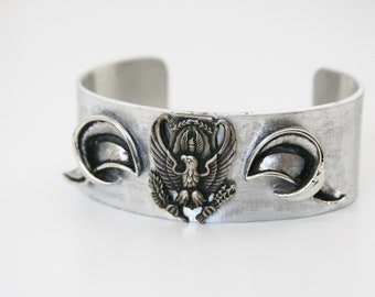ROTC Cuff Bracelet Air Force Aluminum Accessory Eagle - made with a military pin