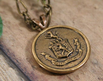 Royal Family Crest Pendant Brass Coat of Arms Necklace - made from a button