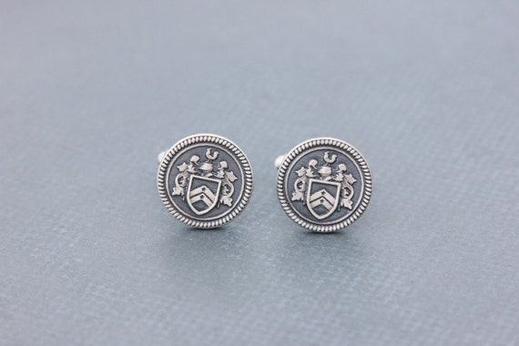 Select Gifts Marks England Heraldry Crest Sterling Silver Cufflinks Engraved Message Box
