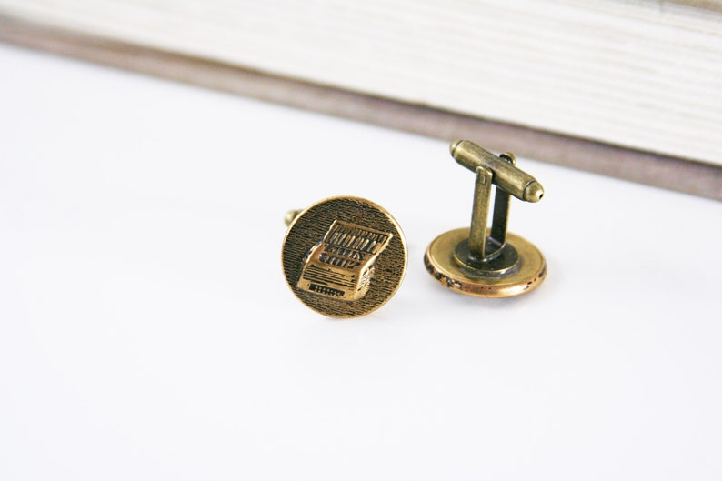 Accordion Cufflinks Musician Chord cuff links Polka Squeezebox Mens Accessories made with brass buttons