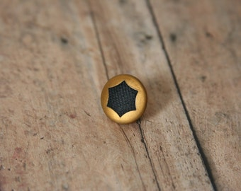 CLEARANCE SALE Brass Tie Pin Black Star lapel pin - Made with a small brass and black button