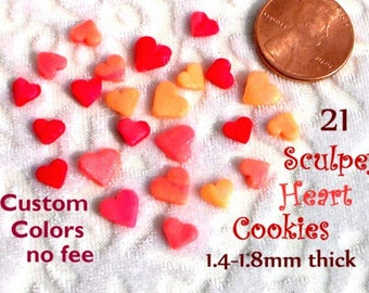 Miniature Heart Cookies Polymer Clay Femo Sculpey Candy Dollhouse