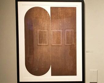 "Large Etching . Minimalist . Geometric . Sepia Brown: ""Twill "". Size 20"" x 26"". unframed"