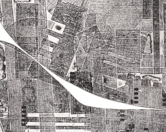 "Minimalist Art  . Geometric . Black and White: ""Alley "". Print Size 12"" x 14"". unframed"