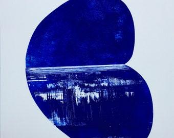 "Etching Print . Geometric Art in ultramarine blue: Pool . Print Size 22"" x 32"" . Unframed ."