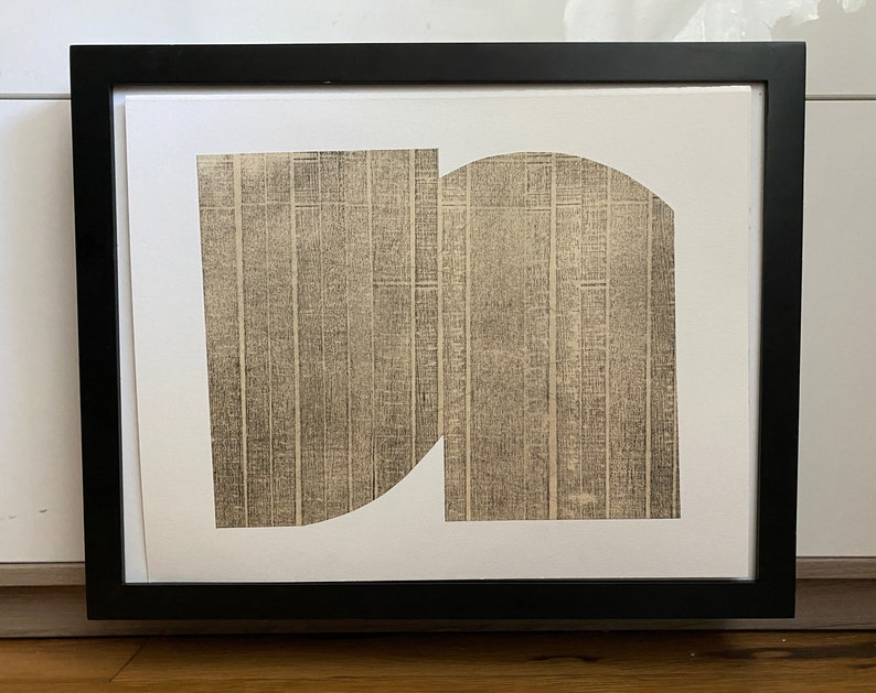 Pale Black+ Tan: Bridge 9 Print Size 13 x 10.5 unframed Art Print Contemporary Print Etching