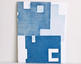 "Fine Art Etching . Minimalist. Blue Print: ""Intersection 18""  Size 15"" x 18"". unframed"