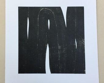 "Art Print . Black white + tan Home Decor. Trace 14. Print Size 11"" x 11"" . unframed ."