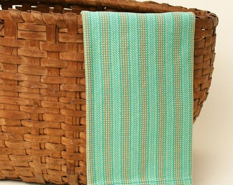Handwoven Cotton Dishtowel in Turquoise Twill Weave with Yellow, Orange and Green Stripes