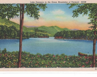 """Vermont. Vintage Postcard, """"Lake Dunmore in the Green Mountains of Vermont,"""" 1950s, #1178."""