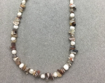 Ocean Jasper and Pearl Necklace