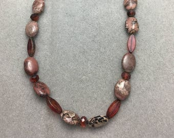 Mauve Snakeskin Jasper and Glass Necklace