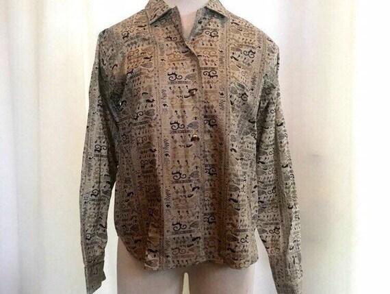 1950s vintage novelty print blouse size 36 small … - image 2