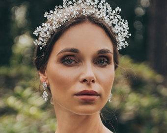 New Bride collection. Wedding crown. Princes bride accessory. Royal tiara for bride. Handmade bridal crown. Crystals crown. Unique bride.