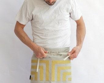 cafe apron with hand printed pocket in metallic gold on organic European hemp