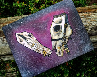 Hand-painted Horse & Gator Skulls with Acrylic Paint with Metal Feet and Accents on Wooden Box
