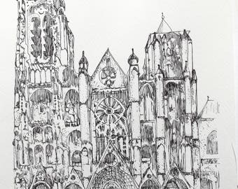 Bourges Cathedral France Print From Original Drawing