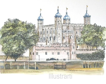 Aceo Tower of London From The Thames Print From an Original Watercolour