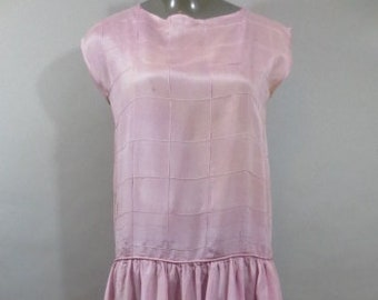 1920's Semi Sheer Silk Dress, Drop Waist, Lavender with Machine Stitched Grid on Top, Gathered at Drop Waist, Dress is in Poor Condition