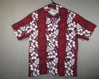 577c966f Vintage Cotton Hawaiian Shirt, Dark Red and White Hibiscus, KY's Label,  Made in Hawaii, All Cotton, Front Patch Pocket...XL