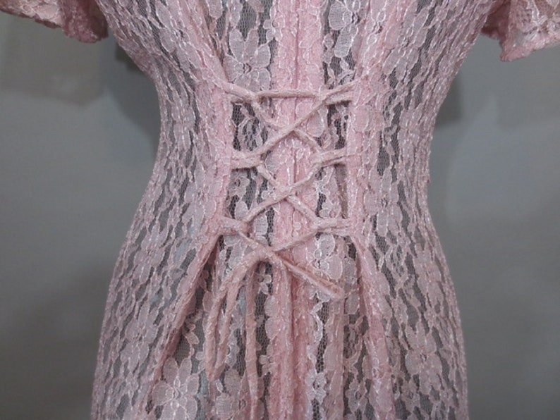 SALE**Vintage 1980/'s Pink Lace Dress,Semi Sheer,DAWn JOY Fashions,Back Zipper,Lace Up back,Crop top Front,Short Sleeves,NylonMade in USA,1