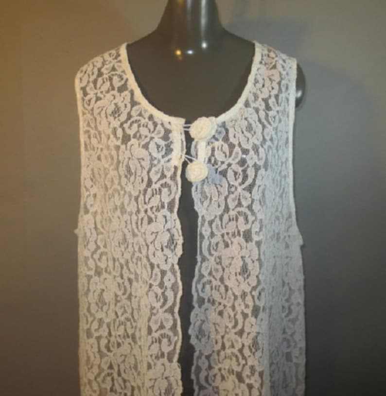 Side Slits Sleeveless Katy D Two Lace Button Closure Good Condition...L-XL Semi Sheer Vintage Lace TunicVest Cover-up