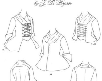 rev war etsy Baldric Axe jpr11 jp ryan 11 18th century ladies jackets sewing pattern