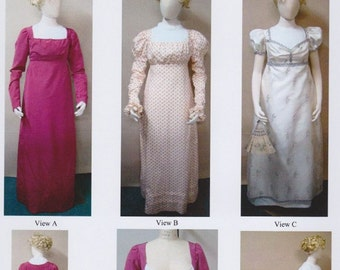LM126 - Laughing Moon #126, 1800-1810 Ladies' Regency or Empire Round and Trained Gown Sewing Pattern
