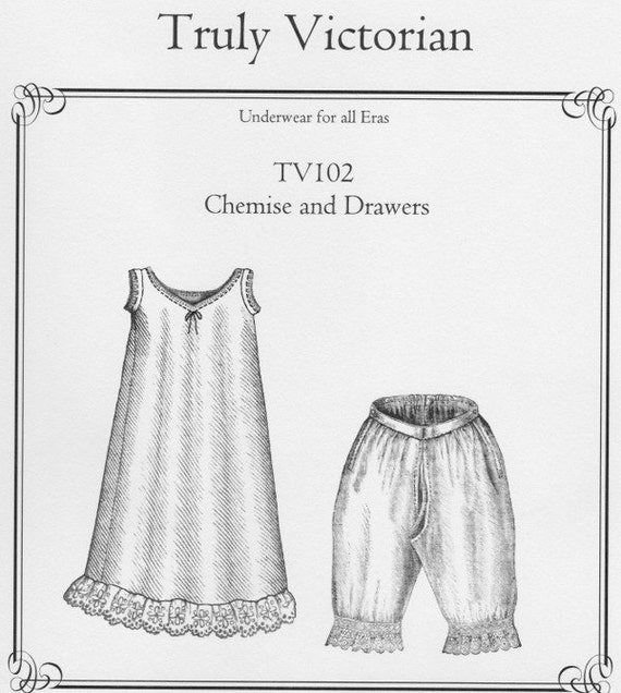 Tv102 1885 Chemise And Drawers Sewing Pattern By Truly Etsy