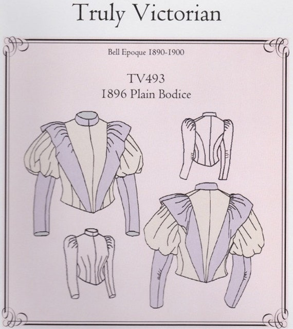 Tv493 Truly Victorian 493 1896 Plain Bodice Sewing Pattern Etsy