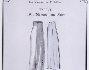 TVE30, 1911 Narrow Panel Skirt Pattern by Truly Victorian