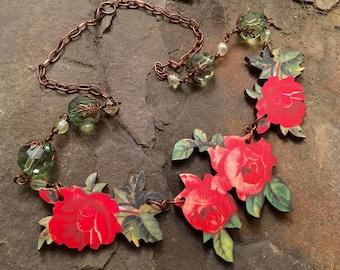 Lovely vintage cabbage red rose pendant necklace, botanical, laser cut