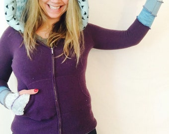 RESERVED Purple cashmere Light agua, turquoise birds Elf jumper hoodie coat sweater by Hope Floats Upcycled