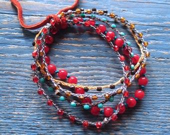 Glass Roll Bracelets.  Set of 5